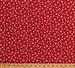 Cotton Snowflakes Snow on Red Christmas Holidays Festive Winter Wishes Cotton Fabric Print by the Yard (50260-3)