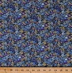 Cotton Flowers Blue Purple Yellow Floral Meadow Zinnias Bachelor's Button Forget-Me-Nots Sevenberry Petite Garden Spring Blue Cotton Fabric Print by the Yard (SB-6118D2-4blue)