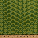Cotton Flowers Green Floral Heather Bailey Clementine Posie Olive Cotton Fabric Print by the Yard (PWHB-052)