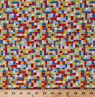 Cotton Multi-Colored Squares Rectangles Pixelated Colorful Blocks Air Show Coordinate Cotton Fabric Print by the Yard (1212-17)