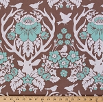 Cotton Joel Dewberry Birch Farm Deer Silhouettes Flowers Birds Mint Brown Cream Cotton Fabric Print by the Yard (PWJD089.BURLA)