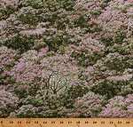 Cotton Pink Blossoms Trees Flowers Floral Botanical Nature Landscape Abundant Garden Cotton Fabric Print by the Yard (21842-21PINK)
