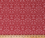 Cotton Red Floral Vines Flowers Garden Opposites Attract White on Red Cotton Fabric Print by the Yard (120-12093)