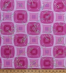 Matte Jersey Polyester Lycra Pink Squares Silver Metallic Swirls Stretch Fabric By the Yard (3582F-1A)