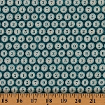 Cotton Type Writer Keys Numbers Vintage Font Cotton Fabric Print by the Yard (DC6130-NAVY-D)