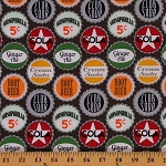 Cotton Soda Pop Caps Vintage Cola Root Beer Ginger Ale Cotton Fabric Print by the Yard (DC6873-COLA-D)
