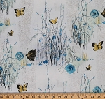 Cotton Dream Blossom Trees Butterflies Roses Silver Blue Cotton Fabric Print by the Yard (N7501)