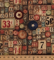 Cotton Vintage Wooden Game Pieces Bingo Numbers Tim Holtz Eclectic Elements Neutral Cotton Fabric Print by the Yard (PWTH012-NEUTR)