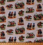 Cotton Race Horses Horse Riding Jockeys Racing Equestrian Animals Race Scenes Horse Breeds Cream Cotton Fabric Print by the Yard (7700-cream)