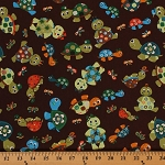 Cotton Turtle Talk Brown Turtles Butterflies Cartoon Cotton Fabric Print by the Yard (2965/1015)