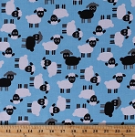 Cotton Sheep Lambs Farm Animals White Black Sheep on Light Blue Urban Zoologie Kids Children's Cotton Fabric Print by the Yard (AAK-16485-4BLUE)