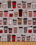 Cotton Metro Cafe Coffee Cups To Go Cotton Fabric Print by the Yard AWN-14289-166 Hazelnut
