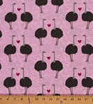 Cotton Robert Kaufman Olive the Ostrich Pink Cotton Fabric Print by the Yard AWN-13048-97