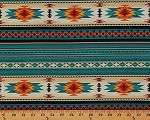 Cotton Southwestern Native American Aztec Tucson 201 Turquoise Stripes Pattern Cotton Fabric Print by the Yard (201-turquoise)