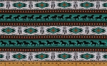 Cotton Southwestern Native American Aztec Tucson 201 Turquoise Horses Dream Catchers Cotton Fabric Print by the Yard (497-turquiose)