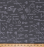Cotton Science Diagrams Drawings Equations Math Chemistry Physics Geometry Science Fair Gray Cotton Fabric Print by the Yard (AIB-14737-12GREY)