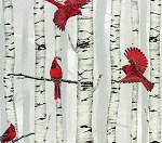 Cotton Woodsy Winter Cardinals Red Birds on Birch Trees Metallic Cotton Fabric Print by the Yard (L7325-483S-FOG-SILVER) D467.32