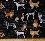 Cotton Hero Dogs K9 Rescue Animals Cotton Fabric Print by the Yard 5767-12