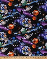 Cotton Universe Planets Stars Moons Astronomy Cotton Fabric Print by the Yard Royce-C4117 Multi