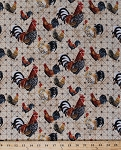 Cotton Roosters Chickens Farm Bird Farming Cotton Fabric Print by the Yard (3AJB-1)