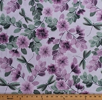 Cotton Flowers Floral Dragonflies Dragonfly Insects Bugs Essence of Pearl Sheer Leaves Lilac Spring Garden Cotton Fabric Print by the Yard (8726P-06)