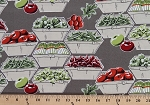 Cotton Coleslaw Vegetables in Boxes Tomatoes Green Peppers Radishes Chili Peppers Gardening Cotton Fabric Print by the Yard (98511)