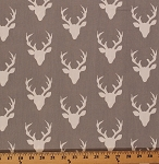 Cotton Hello Bear Buck Forest Deer Head Silhouette Cotton Fabric Print by Yard HBR-4434 Mist