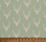 Cotton Hello Bear Buck Forest Deer Head Silhouette Cotton Fabric Print by the Yard HBR-4434-1 Mint