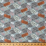 Cotton Knuffle Bunny Speech Word Bubbles on Blue Kids Children's Book Organic Cotton Fabric Print by the Yard (1464-07ORANGE)