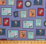 Cotton Knuffle Bunny Frames Pictures Trixie Mo Willems Kids Children's Book Purple Organic Cotton Fabric Print by the Yard (1465-02BLUE)