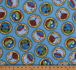 Cotton Peanuts Comic Characters Snoopy Camping Woodstock Marcie Peppermint Patty Activities Camp Circles Kids Blue Cotton Fabric Print by the Yard (1649-22612-B)