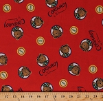 Cotton Corduroy Teddy Bears Buttons Don Freeman Children's Book Character Red Organic Kids Cotton Fabric Print by the Yard (157206)