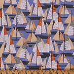Cotton Cabana Sailing Boats Blue Geometric Ocean Cotton Fabric Print by the Yard (05979)