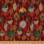 Cotton Peacock Ornaments Garnet Red Metallic Gold Fleck Christmas Birds Cotton Fabric Print by the Yard (M7482)