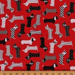 Cotton Urban Zoologie Red Mod Dogs Dachshund Cotton Fabric Print by the Yard (AAK-15736-3)