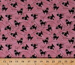 Cotton Rock Around the Clock Black Poodles Dogs on Pink Cotton Fabric Print by the Yard (8220-022-pink)