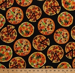 Cotton Pizzas Pizza Slices Toppings Pepperoni Olives Supreme Food on Black One of a Kind Cotton Fabric Print by the Yard (50277D-X)