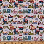 Cotton Wonderland White City Town Holiday Christmas Trees  Cotton Fabric Print by the Yard (1463)