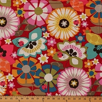 Cotton Large Multi-Colored Flowers on Red Bold Floral Ladybugs Cotton Fabric Print by the Yard (9285W-9M)