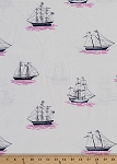 Cotton My Favorite Ship Ships Schooner Schooners Sailing Cotton Fabric Print by the Yard (DC5622-BLOM-D)