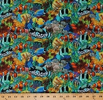 Cotton Tropical Fish Ocean Sea Fishes Clownfish Coral Reef Seaweed Aquatic Digital Print Blue Cotton Fabric Print by the Yard (DP22079-44BLUE)
