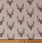 Cotton Hello Bear Buck Head Silhouettes Forest Silver Gray Deer Heads Bucks Antlers on Cream Animals Hunting Cotton Fabric Print by the Yard (HBR-4434-2 silver)