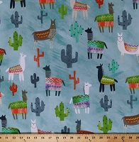 Cotton Alpacas Llamas Desert Animals Cactus Cacti Southwestern Southwest Alpaca Picnic Blue Cotton Fabric Print by the Yard (1649-26541-Q)