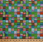 Cotton Picnic Blankets Woven-Look Patchwork Patches Squares Southwestern Alpaca Picnic Cotton Fabric Print by the Yard (1649-26543-Q)