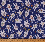 Cotton Blast Off Astronauts Space Rockets Planets Moon Cotton Fabric Print by the Yard 4854-45