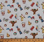 Cotton Holiday Express Christmas Vintage Toys Cotton Fabric Print by the Yard 12M