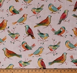 Cotton Birds Colorful Songbirds Spring Branches Twigs Leaves Berries All A Twitter Digital Cotton Fabric Print by the Yard (P4390-145-spring)