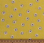 Cotton Daisies Daisy Flowers Spring Summer Floral Polka Dots Bright Yellow Oops A Daisy Cotton Fabric Print by the Yard (08739-09)