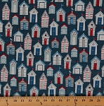 Cotton Sea View Beach Huts Nautical Cotton Fabric Print by the Yard 1635-1