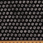 Cotton Black Typewriter Font Batik Hand Dyed Cotton Fabric Print by Yard (M2740)